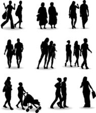 Casual people silhouette