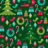 Whimsical Retro Christmas Seamless Pattern Background