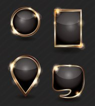 Set of sparkling black and gold web buttons