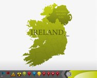 Ireland map with navigation icons