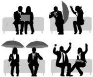 Silhouette of business executives on couch