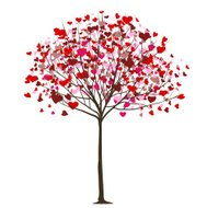 Valentine day or wedding love concept. Tree with hearts