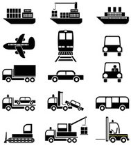 Transport and vehicles - vector icons