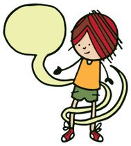 Boy with a speech bubble wrapping around him