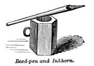 Victorian Illustration (engraving) - Reed pen and inkwell