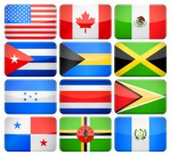 Rounded rectangle flag icons - North and Central America