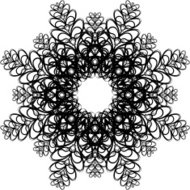 Beautiful snowflake with ornament. Vector