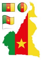 Cameroon map & flag