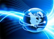Globe on Binary Code Global Network Communication Background