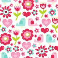 Retro Floral Love Birds Seamless Pattern Background