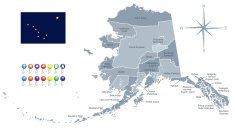 Map of Alaska with its flag