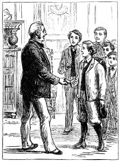 Boy shaking hands with a gentleman (Victorian engraving)