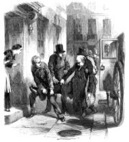 Man being carried from carriage to house (Victorian engraving)