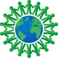 paper chain green people around the world