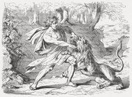 Samson tears open the jaws of a lion