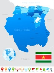 Map of Suriname - states, cities, flag and navigation icons