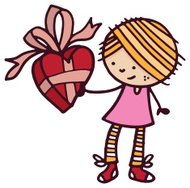 Little girl holding a valentines gift