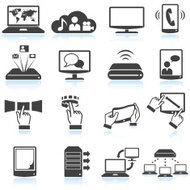 internet network communications black & white vector icon set