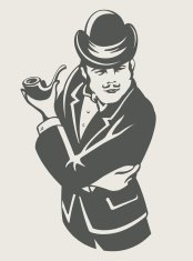 retro man in suit with pipe