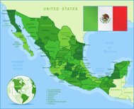 Mexico - green highly detailed map
