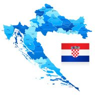 Map of Croatia - states, cities and flag