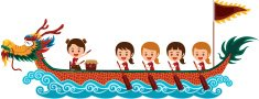 Chinese dragon boat racing festival with girl team