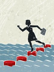 Business Woman Crossing Water Using Stepping Stones