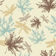 Seamless pattern of autumn, maple leaves and a dragonfly, hand-d