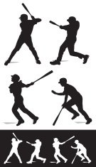 Baseball Batters Swinging - At Bat