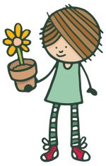 Little girl holding a plant pot with flower