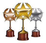 Golden Silver and Bronze Trophies