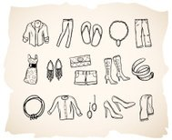 Sketch clothing icon series 2