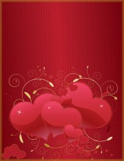 Red and Gold Hearts Background Design