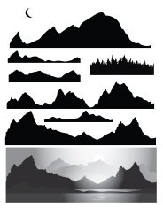 Silhouettes of mountains
