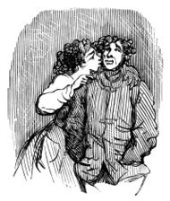 Young woman whispering into a man's ear