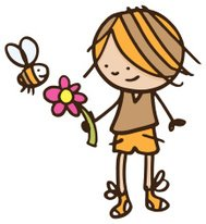 Boy with bee and flower