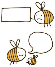 Bees with banners and speech bubbles