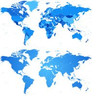 High Detail Blue World map