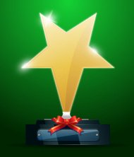 Golden Star Award with Red Ribbon