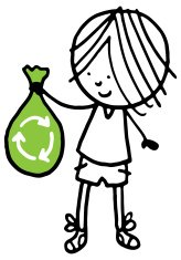 Little boy holding a green recycling bag