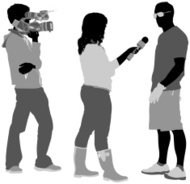 TV reporter taking interview of a man