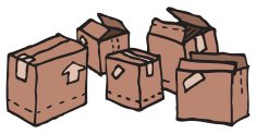 Cartoon carboard boxes