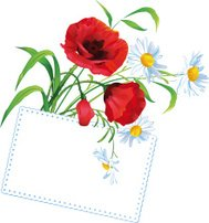 Colorful flower bouquet with greeting card