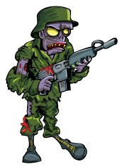 Cartoon zombie soldier with a gun. Isolated on white