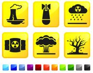 Nuclear Plant Leak and Explosion Disaster vector icon set sticke