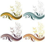 Four season floral graphic abstract background set