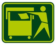 Recycling Sign (man throwing trash into the container)