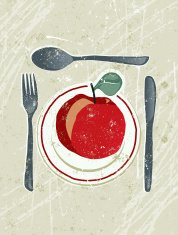 Apple on a plate with knife, Fork and Spoon