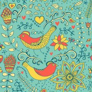 seamless pattern with flowers and bird