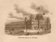Black and White Illustration of Railroad Depot, Chicago, 1800's